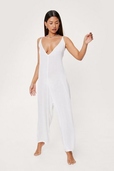Cream Scoop Back Crinkle Beach Cover Up Jumpsuit