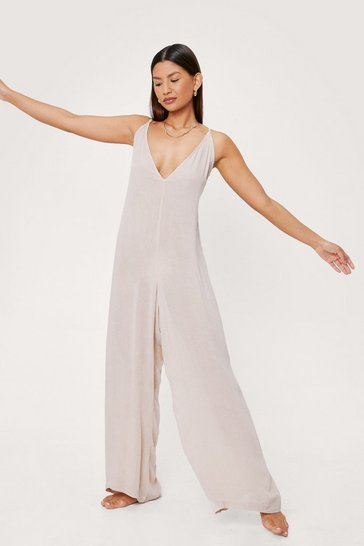 Stone Scoop Back Crinkle Beach Cover Up Jumpsuit