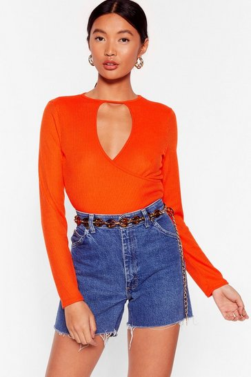 Orange Staying Cut-Out All Night Ribbed Crop Top