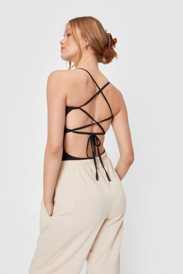 Black Back In Business Strappy Bodysuit