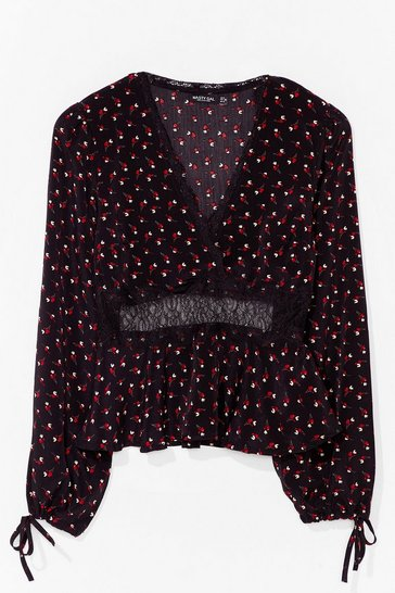 Black Love is Petal Around Lace Floral Blouse