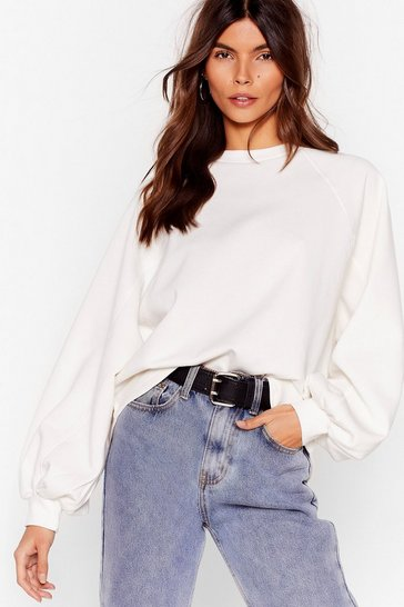 White Let's Hang Oversized Batwing Sweater