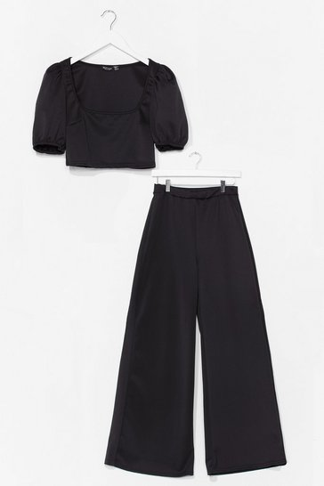 Black Secrets in These Sleeves Top and Wide-Leg Pants Set