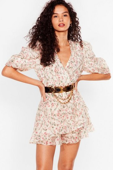White Something to Puff Sleeve in Floral Romper
