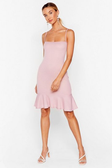 Rose Ribbed Drop Hem Cocktail Dress