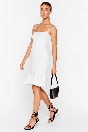 White Flip 'Em Off Ribbed Mini Dress