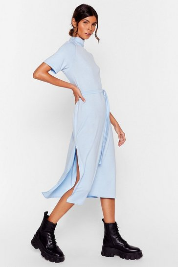 Baby blue Tee BT Belted Midi Dress