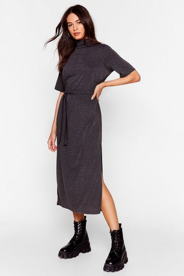 Charcoal Tee BT Belted Midi Dress