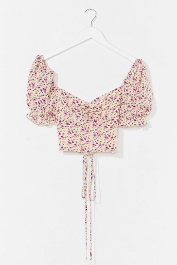 Cream Our Love Blossoms Floral Crop Top