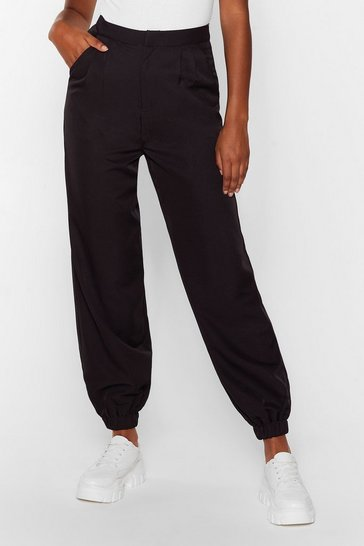 Black Tie and Find Out High-Waisted Jogger Pants