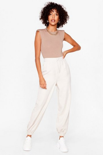 Stone Tie Waist High Waisted Jogger Pants