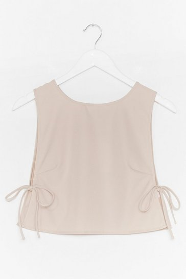 Stone Tie Side Sleeveless Crop Top