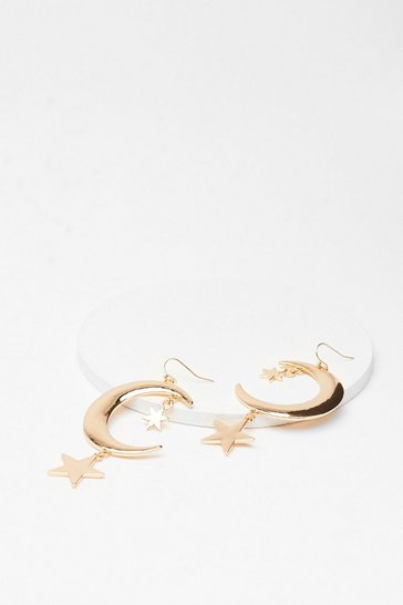 Gold As Star As We Know Moon Drop Earrings