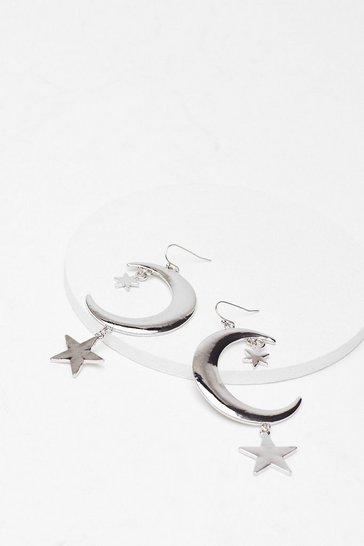 Silver As Star As We Know Moon Drop Earrings