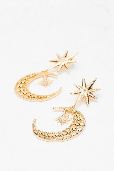 Gold Embellished Moon and Star Earrings