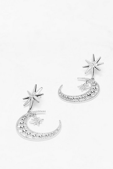 Silver Fly Me to the Moon Engraved Drop Earrings