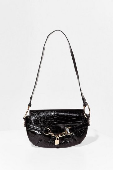Black WANT Padlock 'Em Up Croc Shoulder Bag
