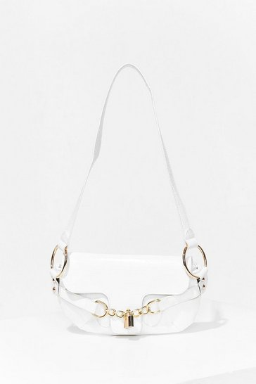 White WANT Padlock 'Em Up Croc Shoulder Bag