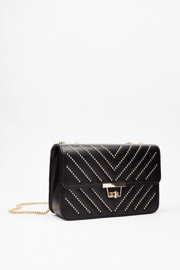 Black Stud Up to Them Faux Leather Crossbody Bag
