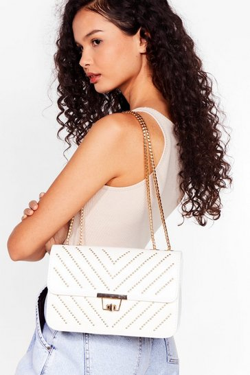 White Stud Up to Them Faux Leather Crossbody Bag