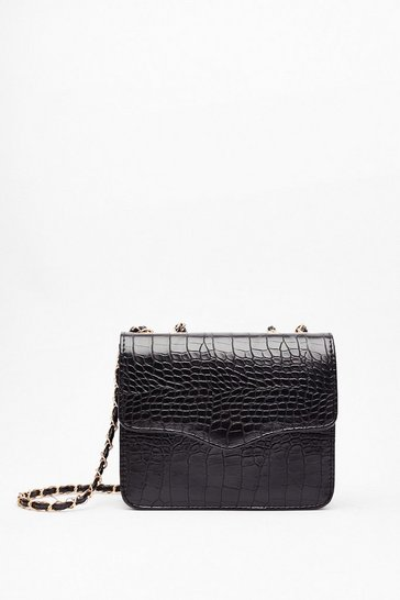 Black WANT We Will Croc You Woven Crossbody Bag