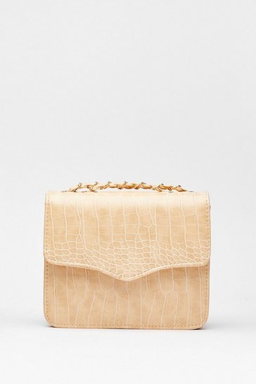 Stone WANT We Will Croc You Woven Crossbody Bag