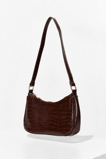 Chocolate WANT Handle It Croc Shoulder Bag