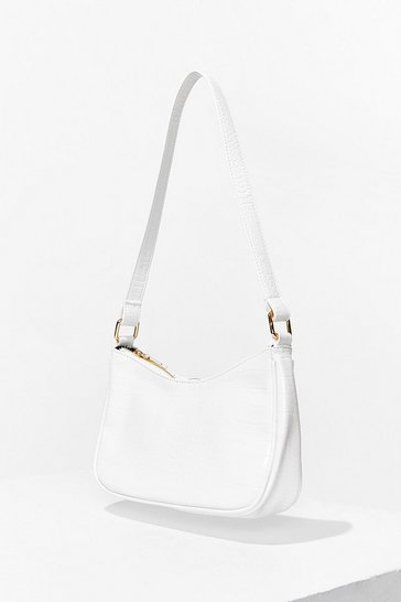 White Faux Leather Croc Shoulder Bag