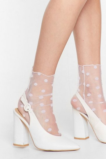 White Get Meshy Polka Dot Socks