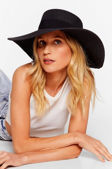 Black Throwin' Shade Straw Boater Hat