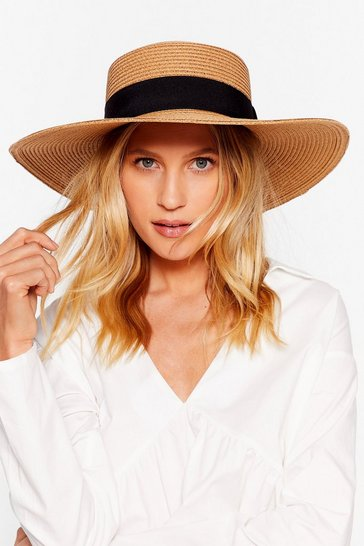 Tan Straw Wide Brim Boater Hat