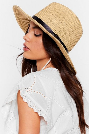 Cream Straw Panama Buckle Band Hat