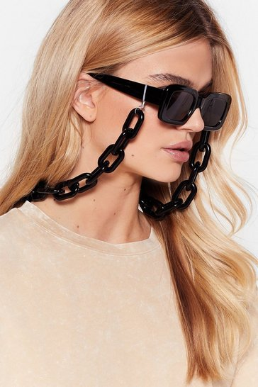 Black Good Linking Babe Chain Square Sunglasses