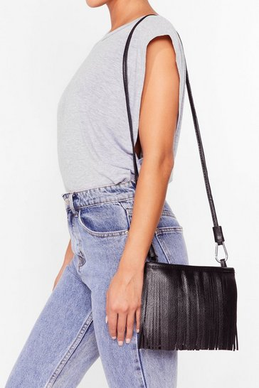 Black WANT Sway of Life Fringe Crossbody Bag