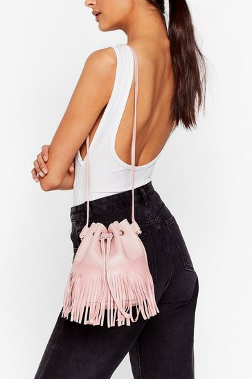 Pink WANT Fringe On It Bucket Bag