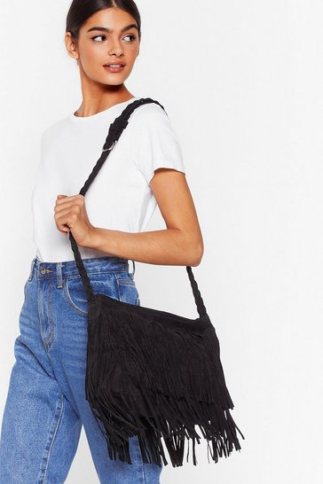 Black Faux Suede Fringe Crossbody Bag