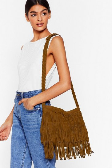 Tan WANT Crossbody Fringe Bag