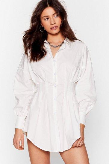 White You're So Shirt-y Pleated Mini Dress