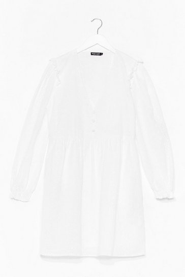 White Broiderie Anglaise Smock Dress