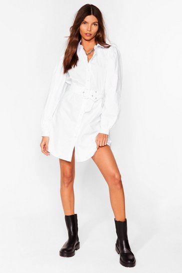 White Truth Shirts Belted Mini Dress
