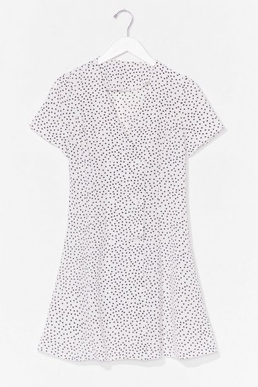 White polka dot button front dress