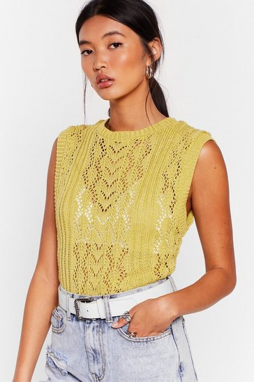 Lime Knit So Fast Pointelle Knit Vest