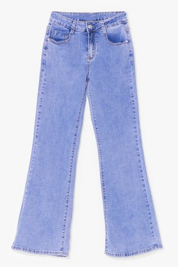 Blue Flare They At High-Waisted Acid Wash Jeans