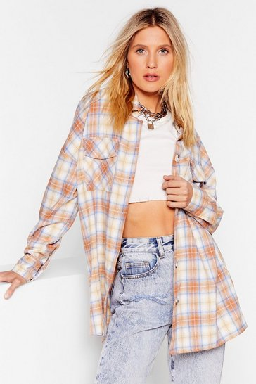 Beige All A-lined Oversized Check Shirt