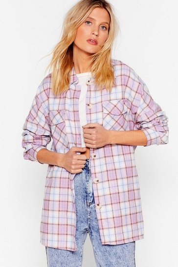 Pink All A-lined Oversized Check Shirt