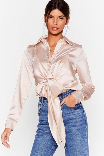 Blush Cami for Love Satin Tie Blouse