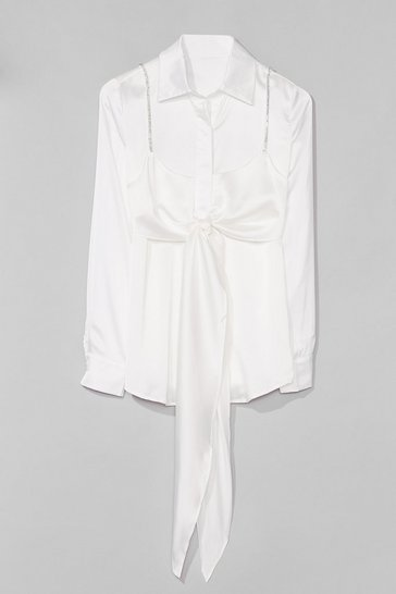 White Cami for Love Satin Tie Blouse