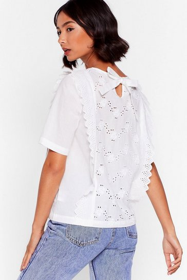 White I Frill Love You Broderie Anglaise Ruffle Top