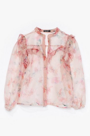 Blush You Belong Sheer Floral Organza Blouse