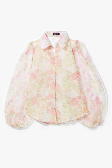 Pink Tonight's Gonna Be a Bud Night Floral Organza Blouse